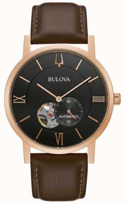 Bulova Clipper américain | automatique | cadran noir | cuir marron 97A155