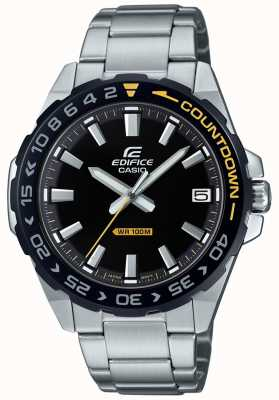 Casio Edifice homme cadran noir lunette noir / jaune EFV-120DB-1AVUEF