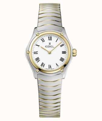 EBEL Bracelet sport classique 24 mm cadran blanc pour femme en acier inoxydable 1216384A