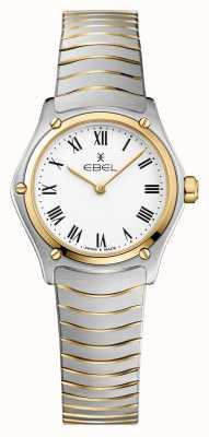 EBEL Bracelet Sport Classique Femme 24mm Cadran Blanc Deux Tons Inox 1216384A