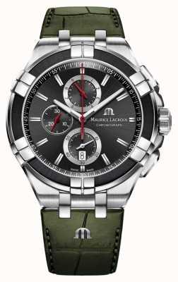 Maurice Lacroix Chronographe Aikon | bracelet en cuir vert | cadran noir AI1018-PVB21-330-1