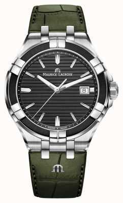 Maurice Lacroix Quartz Aikon | bracelet en cuir vert | cadran noir AI1008-PVB21-330-1