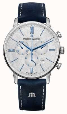 Maurice Lacroix Chronographe Eliros | bracelet en cuir bleu | cadran argenté EL1098-SS001-114-1