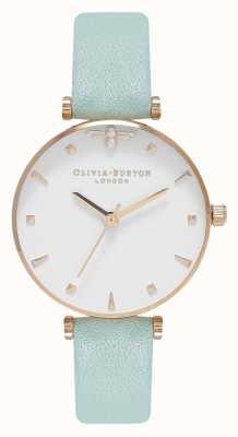 Olivia Burton Abeille reine | bracelet en cuir vert menthe | cadran blanc OB16AM143