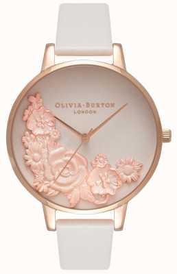Olivia Burton Cadrans roses | bracelet en cuir blush | cadran fleuri OB16FS85