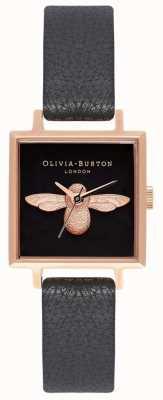 Olivia Burton Abeille 3d | bracelet en cuir noir | cadran abeille carré noir OB16AM128