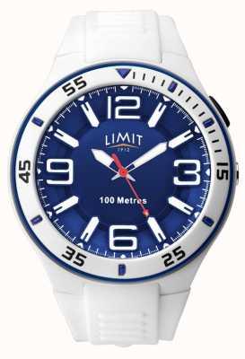 Limit Unisexe | bracelet en caoutchouc blanc | cadran bleu 5763.65