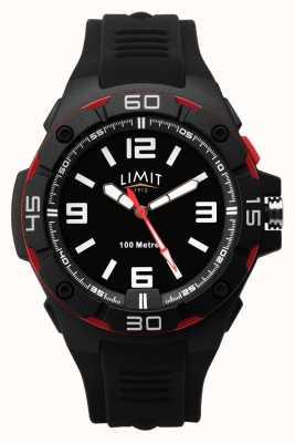 Limit | bracelet en caoutchouc noir pour hommes | cadran noir | lunette rouge / noire 5789.65