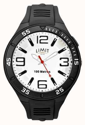 Limit Bracelet en caoutchouc noir pour homme | cadran blanc 5796.65