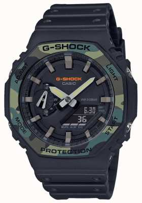 Casio G-shock | lunette en couches | bracelet en caoutchouc noir | boîtier en carbone GA-2100SU-1AER