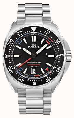 Delma Quartz Oceanmaster   bracelet en acier inoxydable   cadran noir 41701.676.6.038