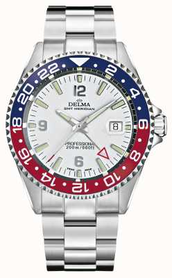 Delma Quartz gmt | lunette bicolore | bracelet en acier inoxydable | 41701.648.6.P014