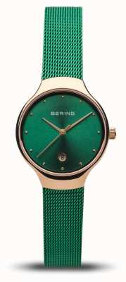 Bering Classique femme | sangle en maille verte | or rose poli 13326-868