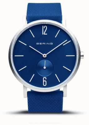 Bering Véritable aurore | bracelet en caoutchouc bleu | cadran bleu 16940-709