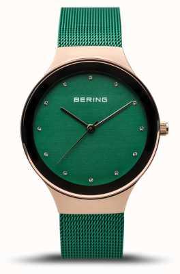 Bering Classique femme | or rose poli | sangle en maille verte | 12934-868