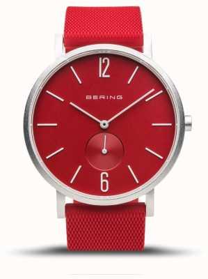 Bering Véritable aurore | bracelet en caoutchouc rouge | cadran rouge 16940-509