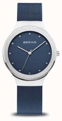 Bering Classique femme | argent poli | sangle en maille bleue 12934-307
