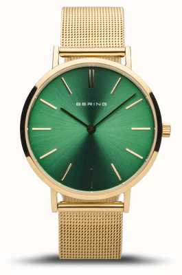 Bering Classique femme | or poli | cadran vert | maille dorée 14134-338