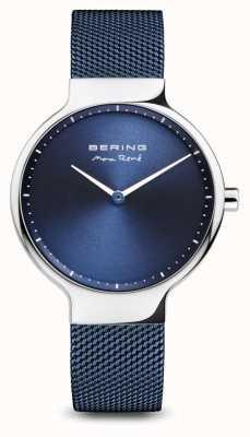 Bering Max rené | argent poli | sangle en maille bleue 15531-307