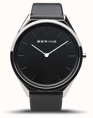 Bering Ultra-mince | argent poli | bracelet en cuir noir 17039-402