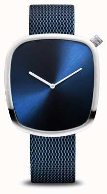 Bering Classique | galet | bleu brossé | cadran carré | maille bleue 18040-307