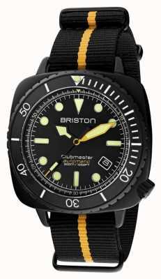Briston Clubmaster diver pro | bracelet nato noir / jaune | cadran noir 20644.PBAM.B.34.NBY