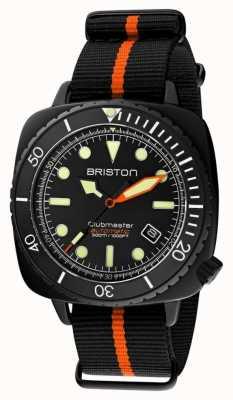 Briston Clubmaster diver pro | bracelet nato noir / orange | cadran noir 20644.PBAM.B.35.NBO