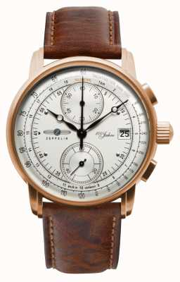 Zeppelin | hommes | 100 ans | chronographe | bracelet en cuir marron | 8672-1