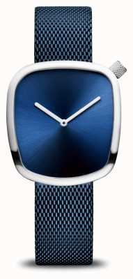 Bering Classique | caillou | sangle en maille bleue | cadran bleu 18034-307