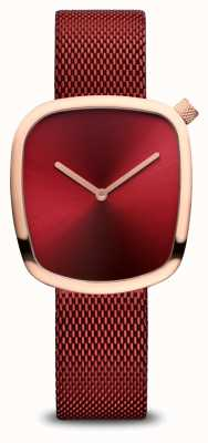 Bering Classique | or rose poli | maille rouge 18034-363