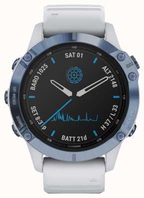 Garmin Fenix 6 pro solaire | bracelet en caoutchouc titane bleu minéral blanc 010-02410-19