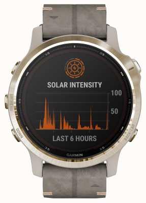 Garmin Fenix 6s pro solaire | bracelet en daim gris schiste doré clair 010-02409-26
