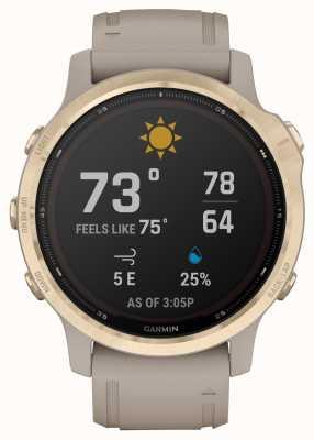 Garmin Fenix 6s pro solaire | or clair avec bracelet sable clair 010-02409-11