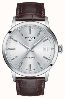 Tissot | swissmatic | cadran argenté | bracelet en cuir marron | T1294071603100