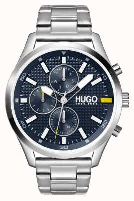 HUGO #Chase hommes | cadran bleu | montre en acier inoxydable 1530163