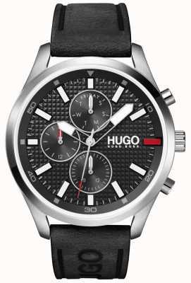 HUGO #Chase hommes | cadran noir | montre bracelet en cuir noir 1530161