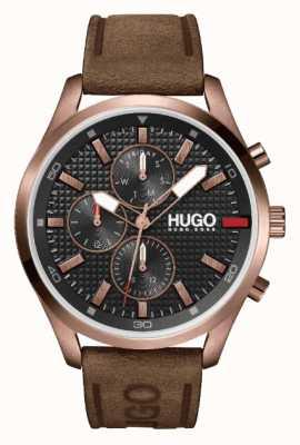 HUGO #Chase ip or rose pour hommes | cadran noir | montre bracelet en cuir marron 1530162