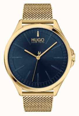 HUGO #Smash casual pour hommes | cadran bleu | bracelet en maille ip or 1530178