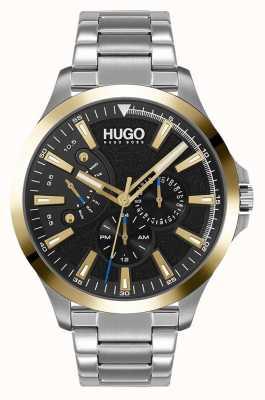 HUGO #leap occasionnel | cadran noir | bracelet en acier inoxydable 1530174