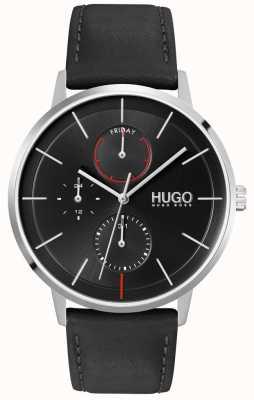 HUGO #exist | cadran noir | multifonctionnel | montre bracelet en cuir noir 1530169