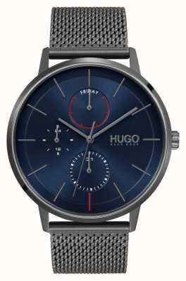 HUGO entreprise #exist | cadran bleu | bracelet en maille ip gris 1530171