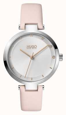 HUGO Mesdames #hope casual | cadran argenté | bracelet en cuir blush 1540074