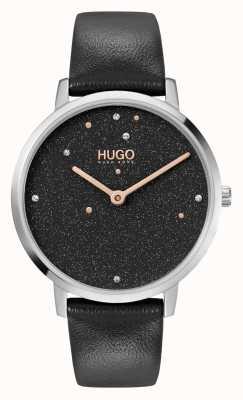 HUGO # entreprise de rêve | femmes | bracelet en cuir noir | cadran serti de cristal noir 1540068