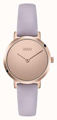 HUGO Mesdames #cherish casual | cadran miroir rose | bracelet en cuir lilas 1540083