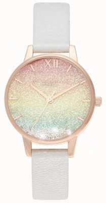Olivia Burton | arc en ciel souhaitant vague | cadran scintillant | bracelet en cuir | OB16EX228