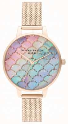 Olivia Burton Montre en maille bouclée en or rose OB16US45