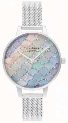 Olivia Burton Montre en maille bouclée argentée à demi cadran queue de sirène OB16US46