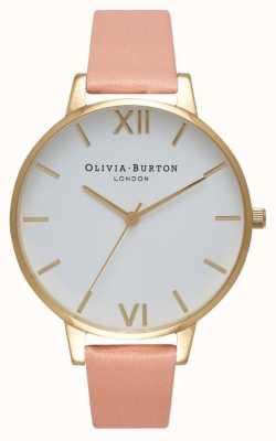 Olivia Burton Montre rose poudré et or à cadran blanc OB16BDW13