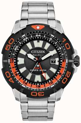 Citizen Homme Promaster Diver gmt | acier inoxydable | cadran noir | accent orange BJ7129-56E