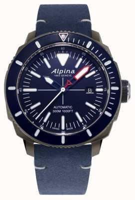 Alpina Seastrong diver 300 automatique | bracelet en cuir bleu marine | AL-525LNN4TV6